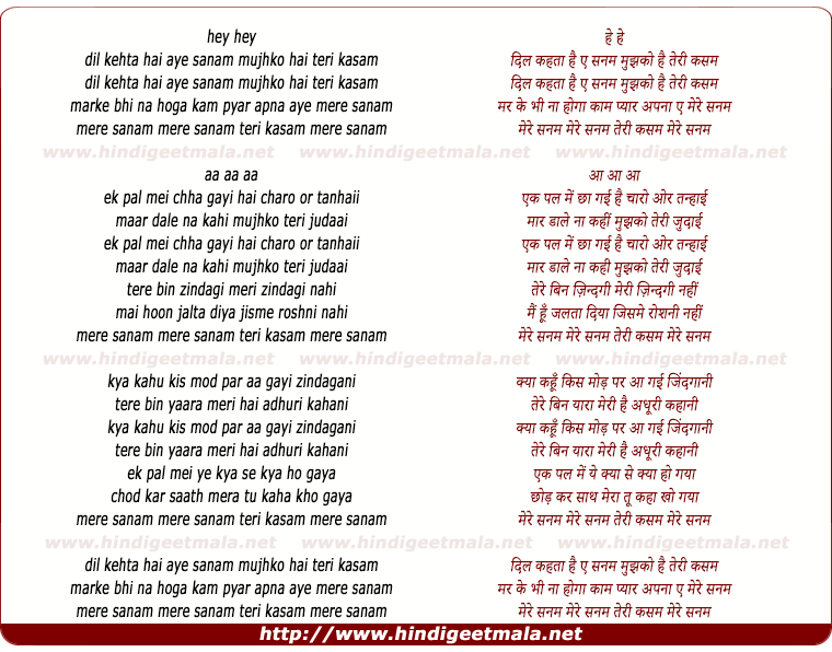 lyrics of song Mere Sanam Teri Kasam