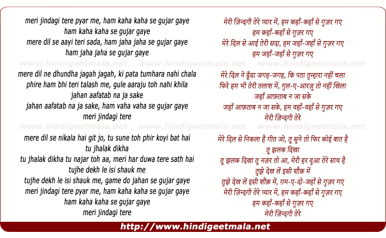 lyrics of song Meree Jindagee Tere Pyar Me Ham