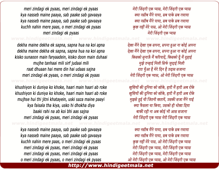 lyrics of song Meri Zindagi Ek Pyaas