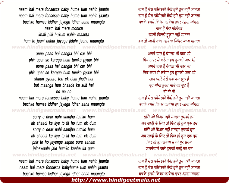 lyrics of song Naam Hai Mera Fonsesca