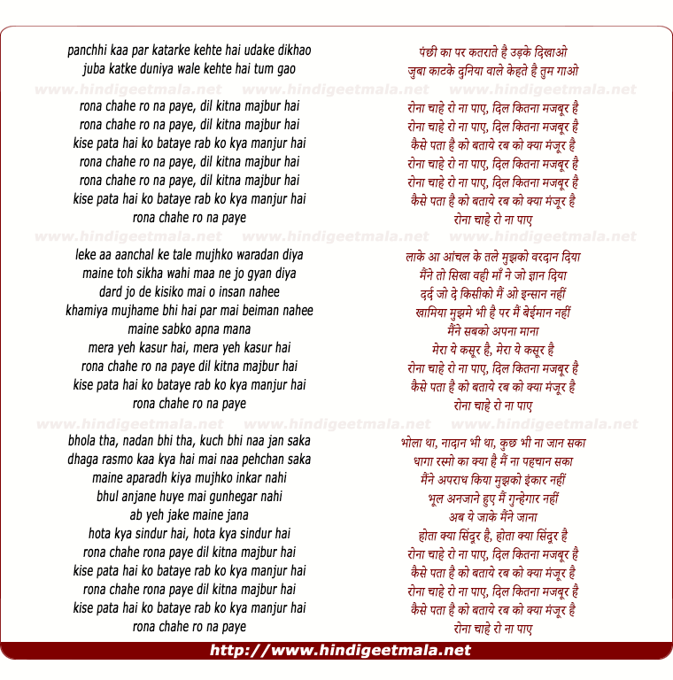 lyrics of song Rona Chahe Ro Na Paye