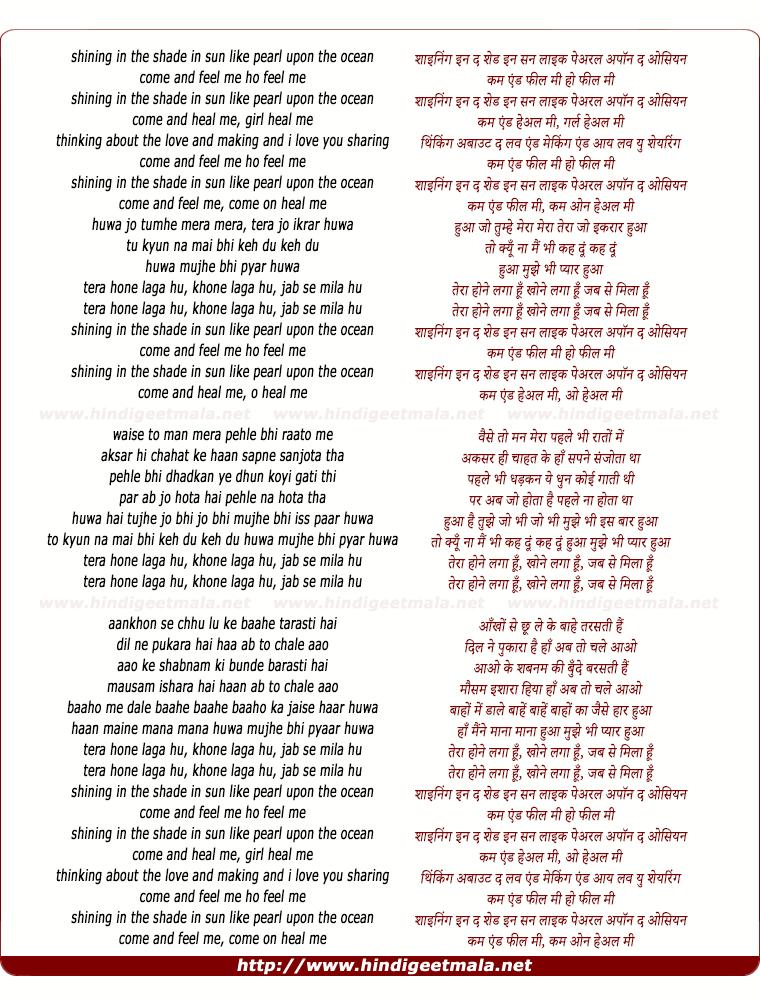 lyrics of song Tera Hone Laga Hu