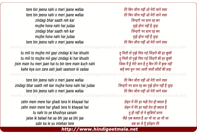 lyrics of song Tere Bin Jeena Nahi
