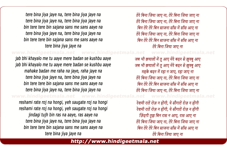 lyrics of song Tere Bina Jiya Jaye Naa