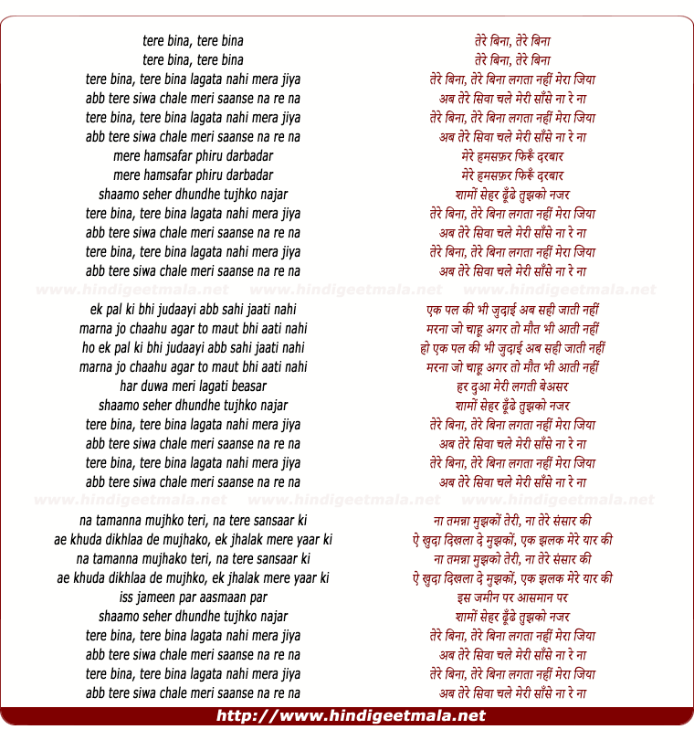 lyrics of song Tere Bina Lagata Nahi Mera Jiya