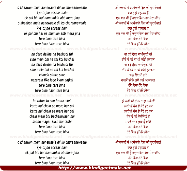 lyrics of song Tere Bina....