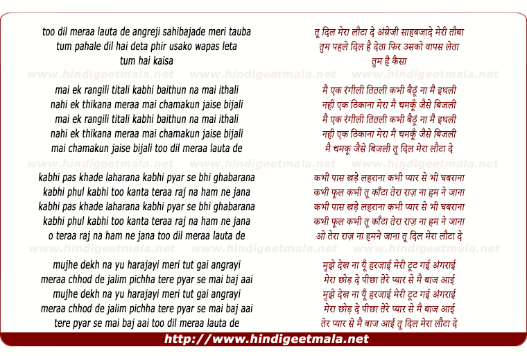 lyrics of song Too Dil Meraa Lauta De