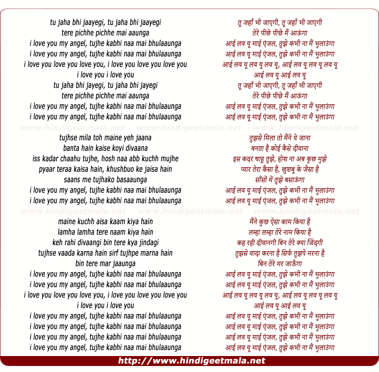 lyrics of song Tu Jaha Bhi Jayegi, Tere Pichhe Pichhe