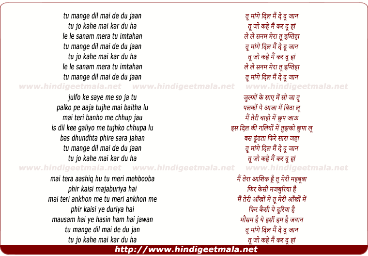 lyrics of song Too Mange Dil, Mai De Du Jan