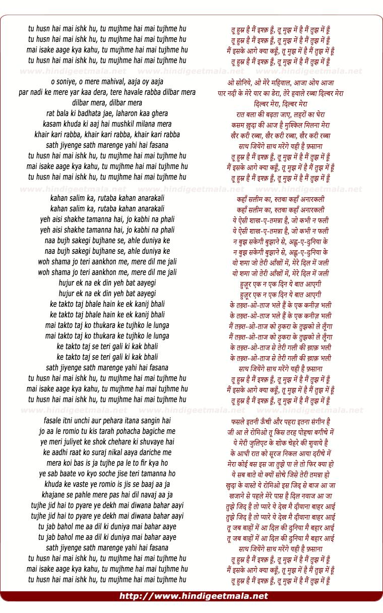lyrics of song Tu Husn Hai Mai Ishk Hu