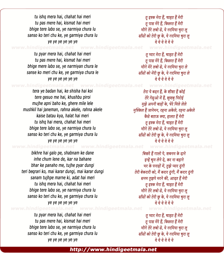 lyrics of song Tu Ishq Mera Hai, Chahat Hai Meri