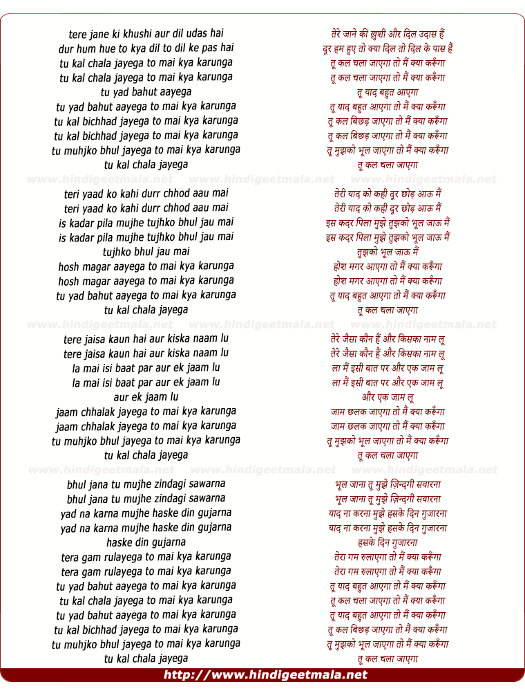 lyrics of song Tu Kal Chala Jaayega