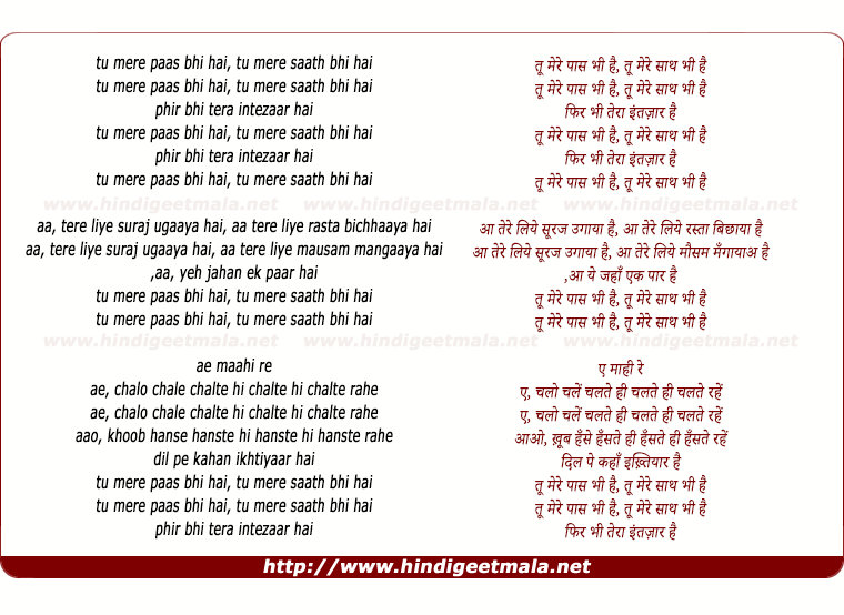 lyrics of song Tu Mere Paas Bhi Hai