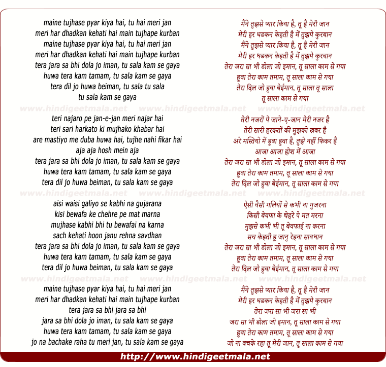 lyrics of song Tu Saala Kaam Se Gaya