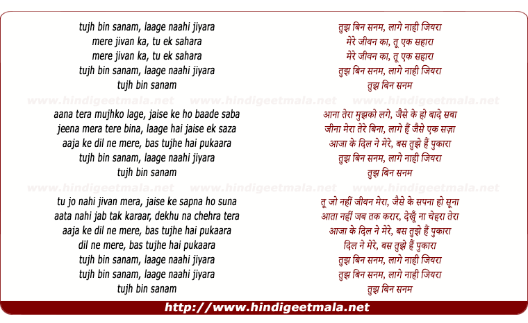 lyrics of song Tujh Bin Sanam Laage Naahi Jiyara