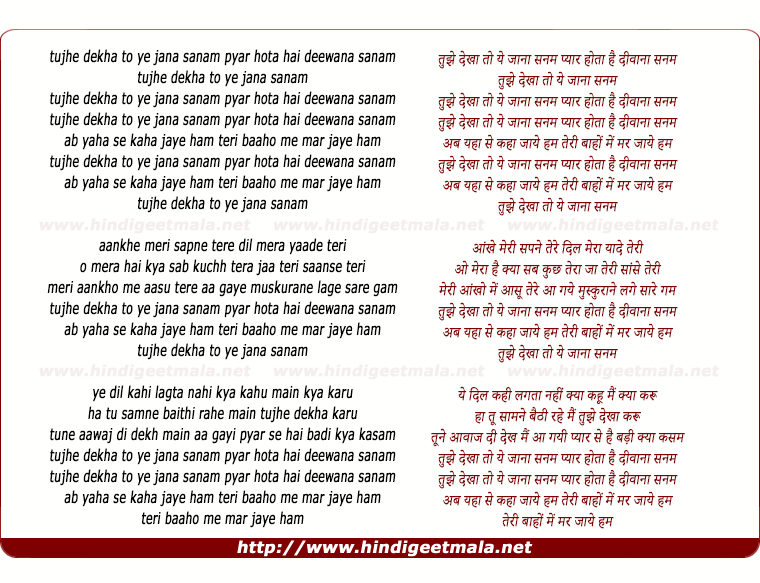 lyrics of song Tujhe Dekha Toh Yeh Jana Sanam