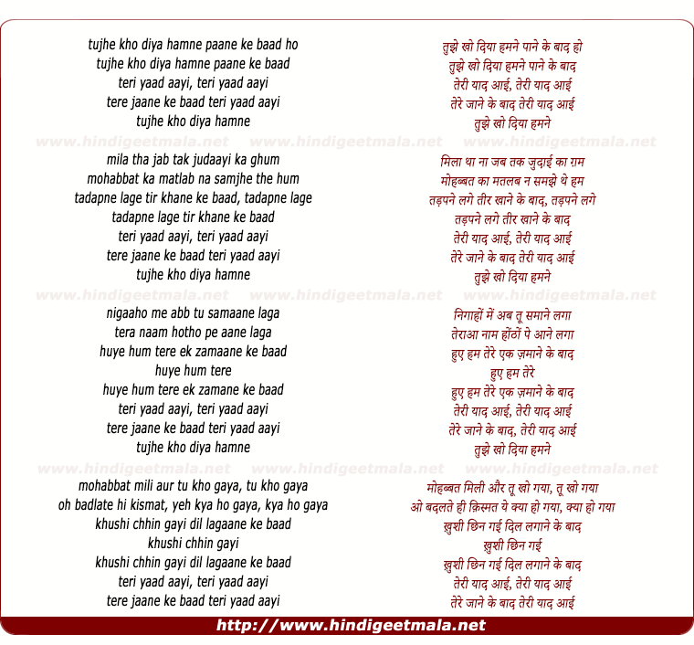lyrics of song Tujhe Kho Diya Hamane Paane Ke Baad