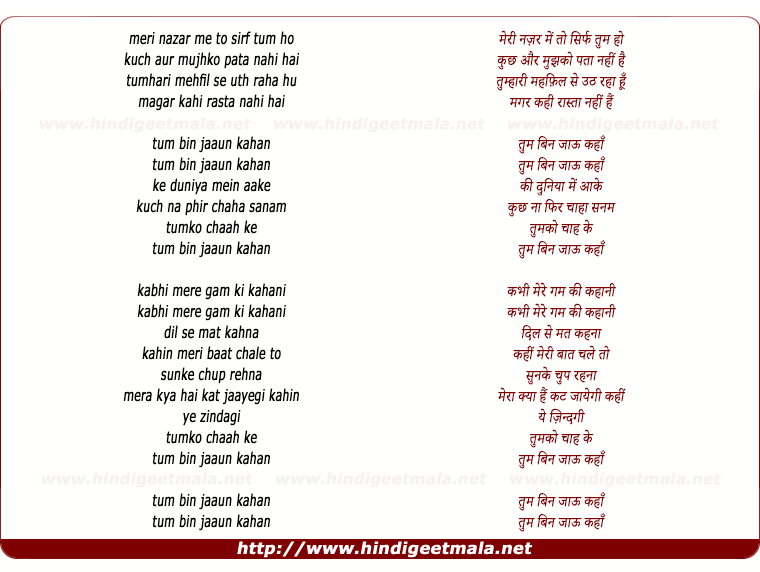 lyrics of song Tum Bin Jaoon Kahan (Rafi - Sad Version)
