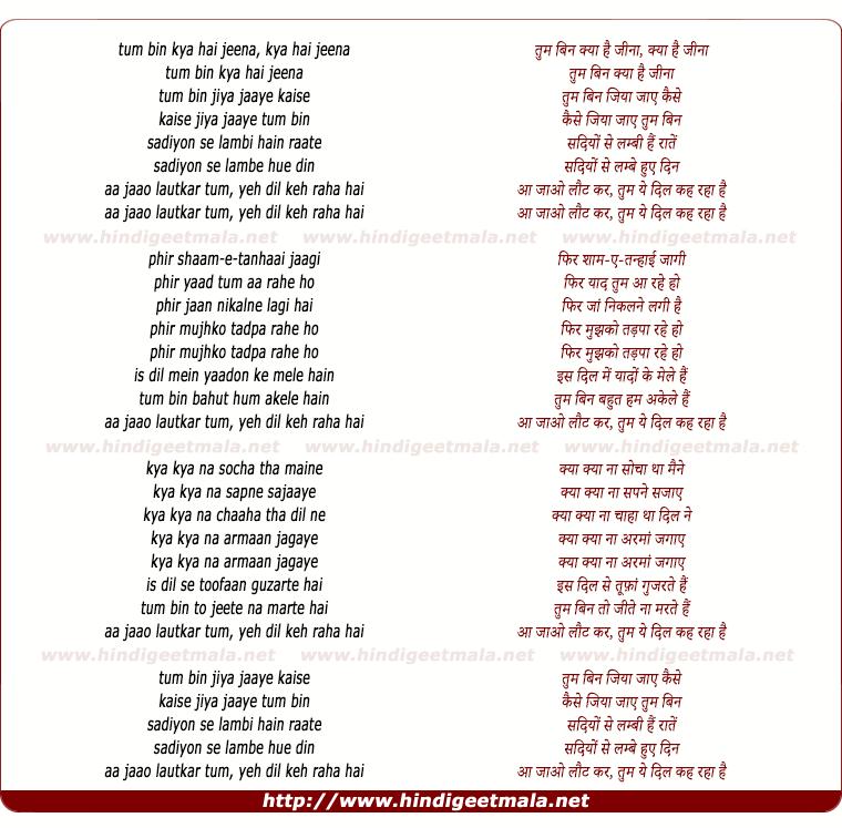 lyrics of song Tum Bin Kya Hai Jeena