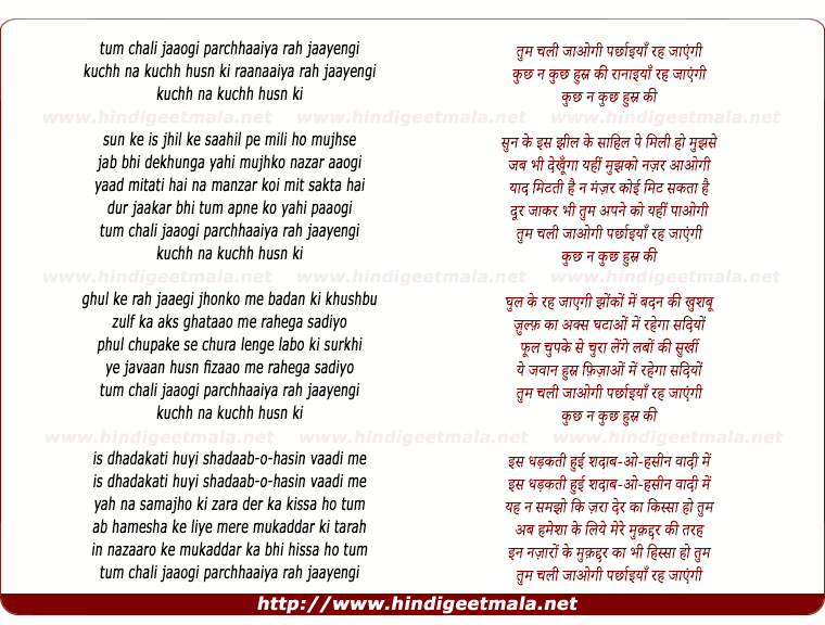 lyrics of song Tum Chali Jaaogi Parchhaaiyaan Rah Jaayengi