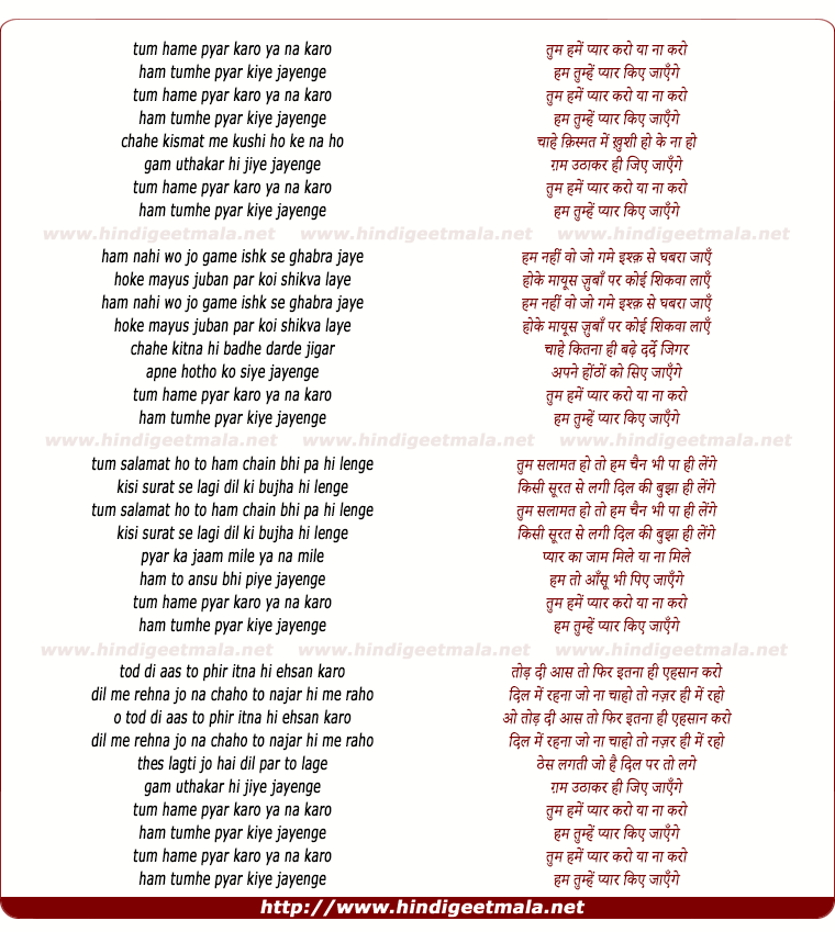 lyrics of song Tum Hame Pyar Karo Ya Naa Karo