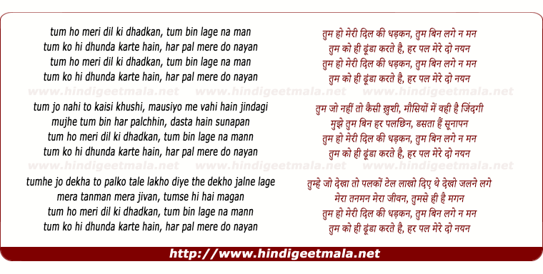 lyrics of song Tum Ho Meree Dil Kee Dhadkan