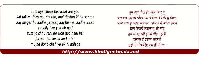 lyrics of song Tum Kya Cheez Ho, Hey! What Are You