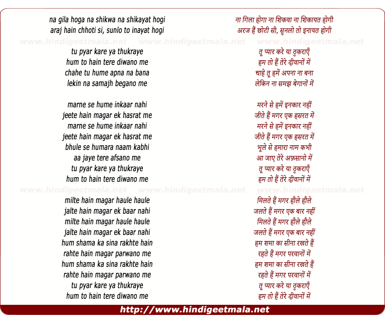 lyrics of song Na Gila Hoga Na Shikwa Na Shikayat Hogi