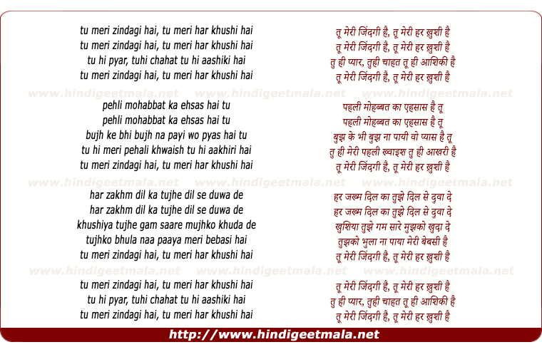 lyrics of song Tu Meri Zindagi Hai, Tu Meri Har Khushi Hai