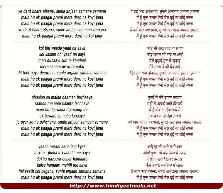 lyrics of song Main Hun Ek Paagal Premi Mera Dard Na Koi Jaana