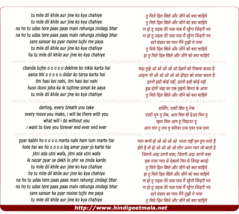 lyrics of song Tu Mile Dil Khile Aur Jine Ko Kyaa Chaahiye