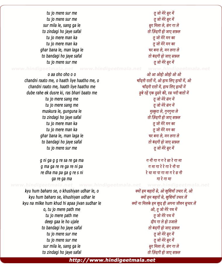 lyrics of song Tu Jo Mere Sur Men Sur Milaa Le