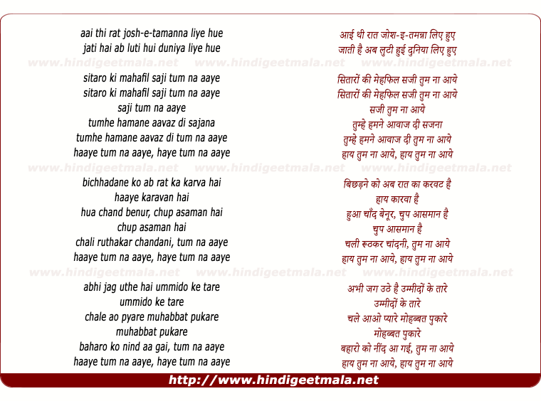 lyrics of song Tum Na Aaye