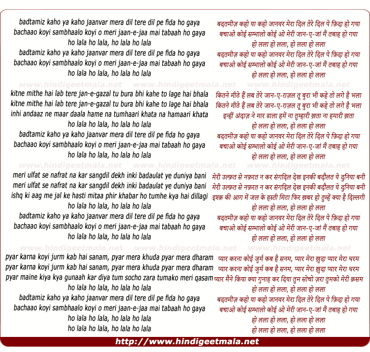lyrics of song Badatamiz Kaho Yaa Kaho Jaanavar Meraa Dil Tere Dil Pe