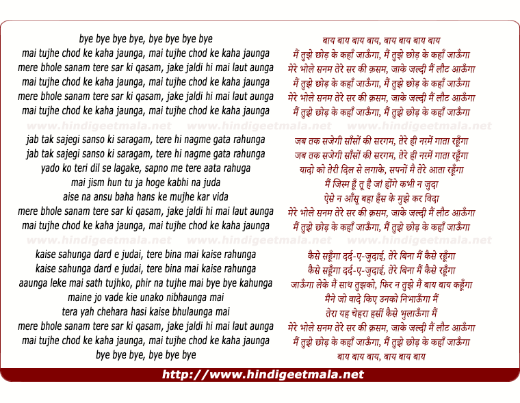lyrics of song Bye Bye Main Tujhe Chhod Ke Kaha Jaunga