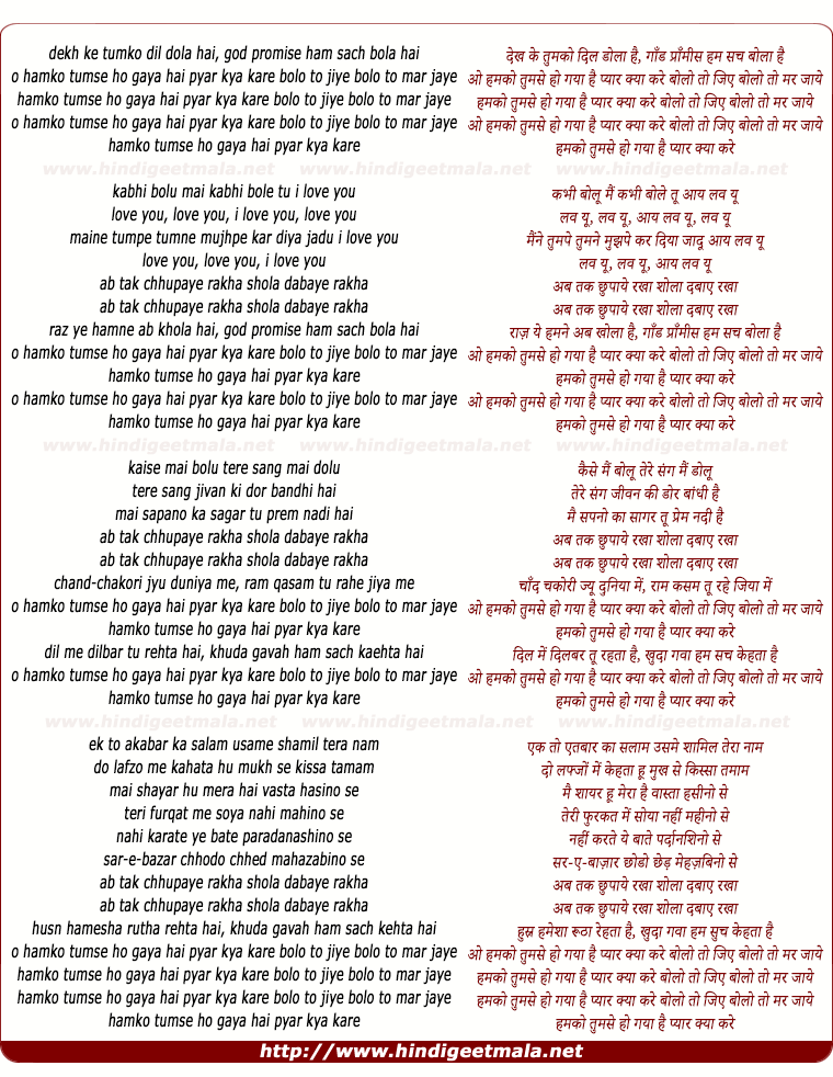 lyrics of song O Humko Tumse Ho Gaya Hai Pyaar