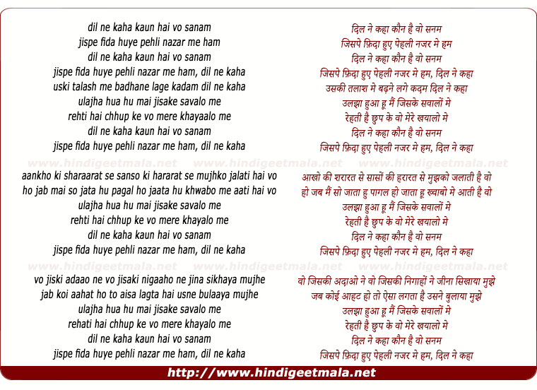 lyrics of song Dil Ne Kahaa Kaun Hai Vo Sanam, Ulajhaa Hun Main