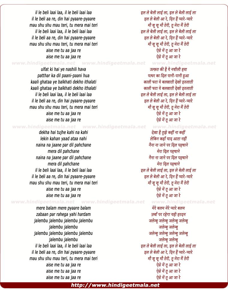 lyrics of song Din Hain Pyaare Pyaare