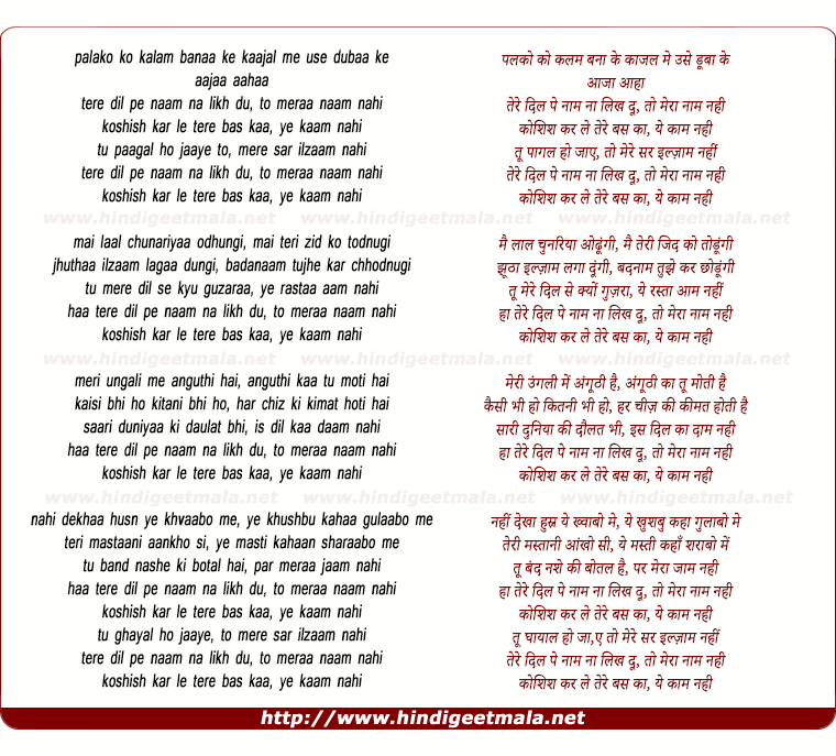 lyrics of song Palakon Ko Kalam Banaa Ke, To Meraa Naam Nahin