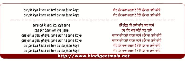 lyrics of song Pir Pir Kya Karata Re Teri Pir Na Jane Koye