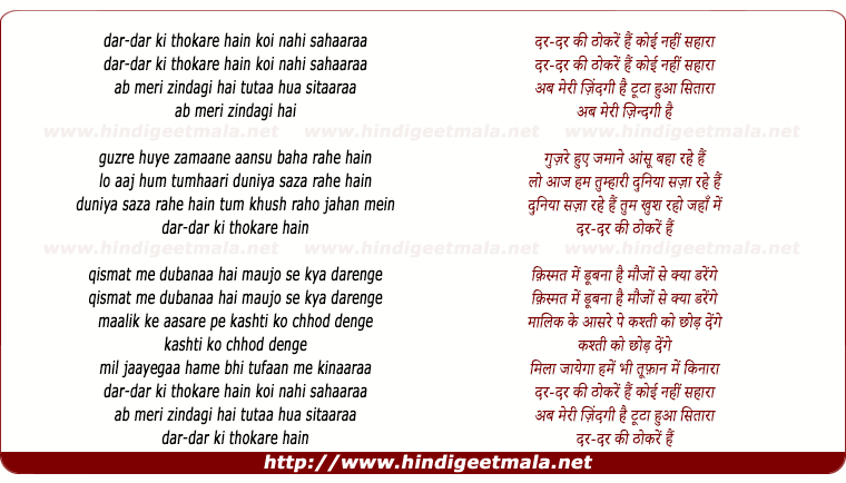 lyrics of song Qismat Men, Dar Dar Ki Thokaren Hain