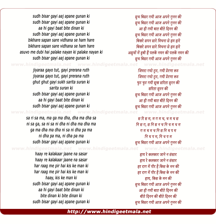 lyrics of song Sudh Bisar Gayi Aaj Apne Gunan Ki