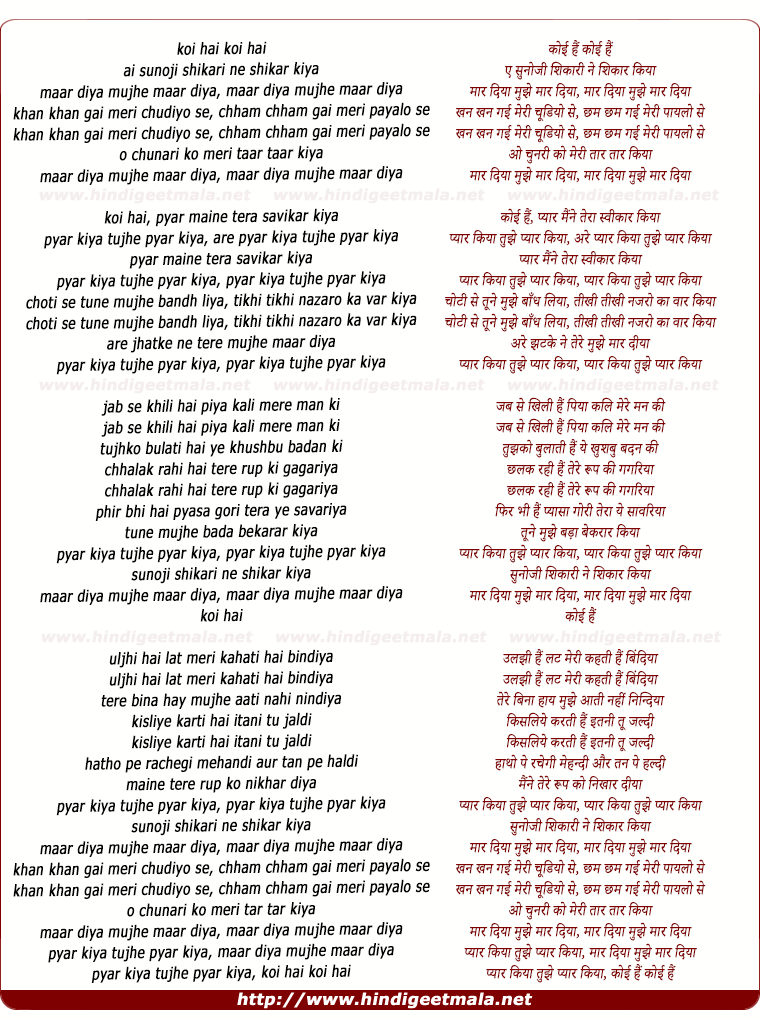 lyrics of song Sunoji Shikari Ne Shikaar Kiya, Maar Diya Mujhe
