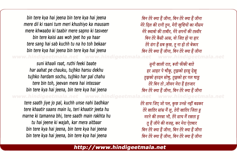 lyrics of song Bin Tere Kya Hai