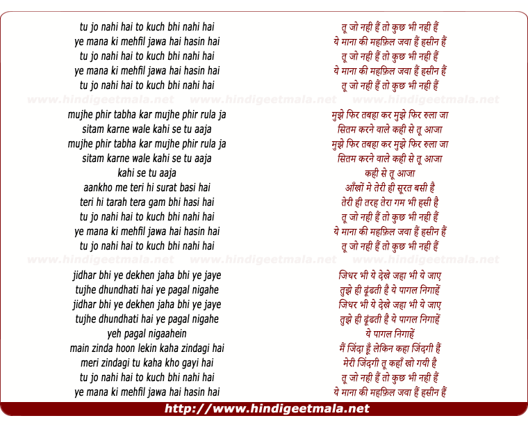 lyrics of song Tu Jo Nahin