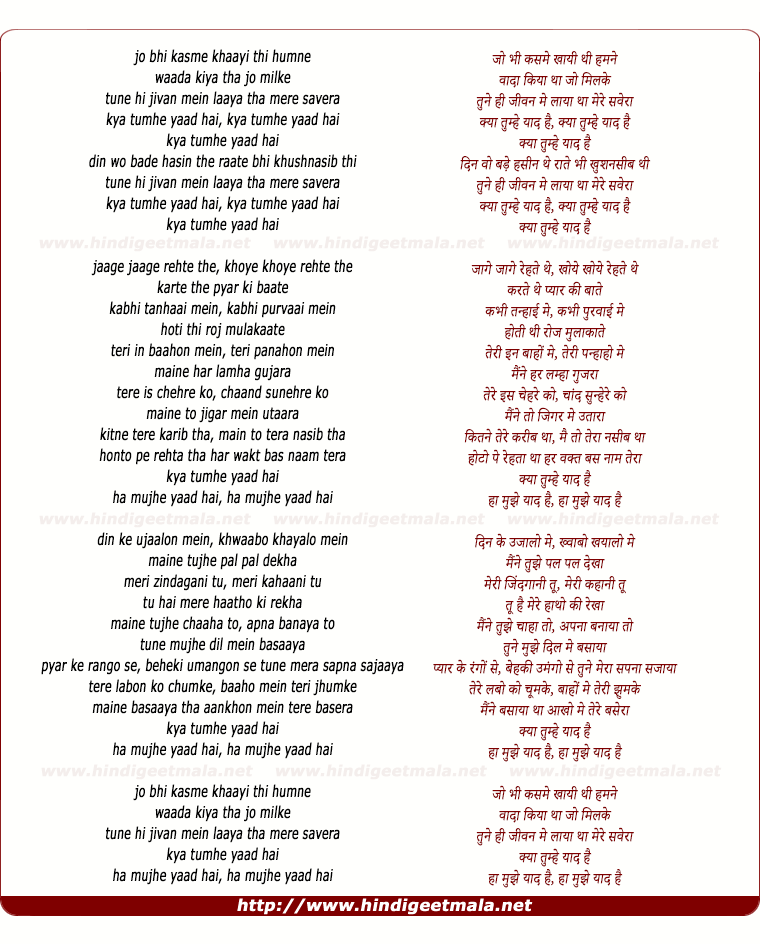 lyrics of song Jo Bhi Kasme Khai Thi Humne