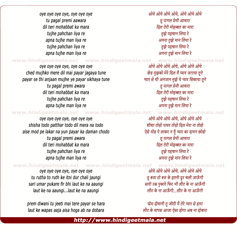 lyrics of song Tu Pagal Premi Awara