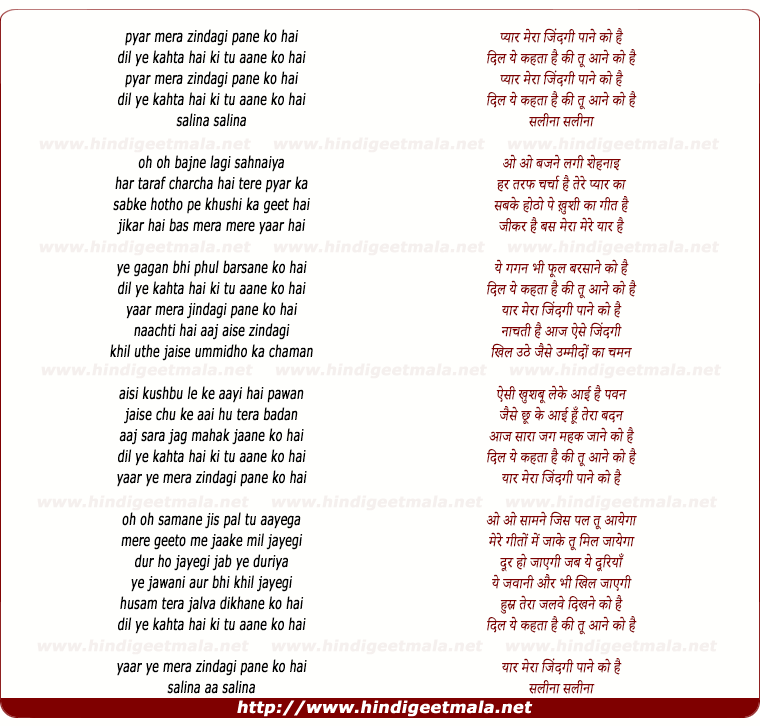 lyrics of song Pyar Mera Zindgi Pane Ko Hai