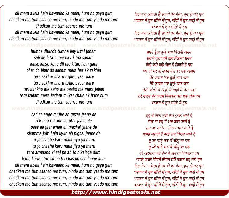 lyrics of song Dil Mera Akela Hai Khawabon Ka Mela