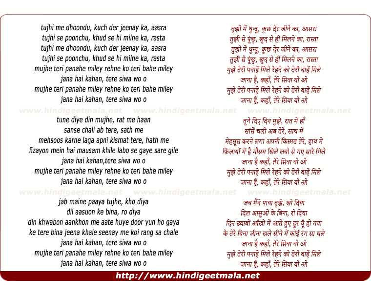lyrics of song Tujhi Mein Dhoondu
